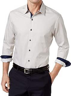 Tasso Elba Mens Cotton Pinstriped Button-Down Shirt Tan XXL
