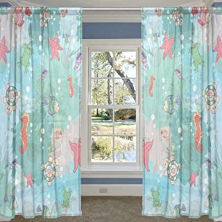 COOSUN Abstract Marine Life On Blots Sheer Curtain Panels Tulle Polyester Voile Window Treatment Panel Curtains for Bedroo...
