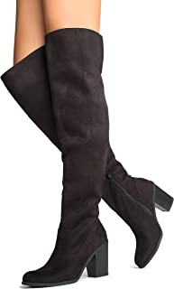 Knee High Stacked Heel Boot – Comfortable Cushioned Dress High Heel Shoes – Casual Over The Knee Boot - Avalon