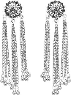 Jwellmart Indian Jewelry Wedding Bollywood Oxidized Silver Kashmiri Long Jhumka Jhumki Jewelry Lightweight Earrings For Women and Girls
