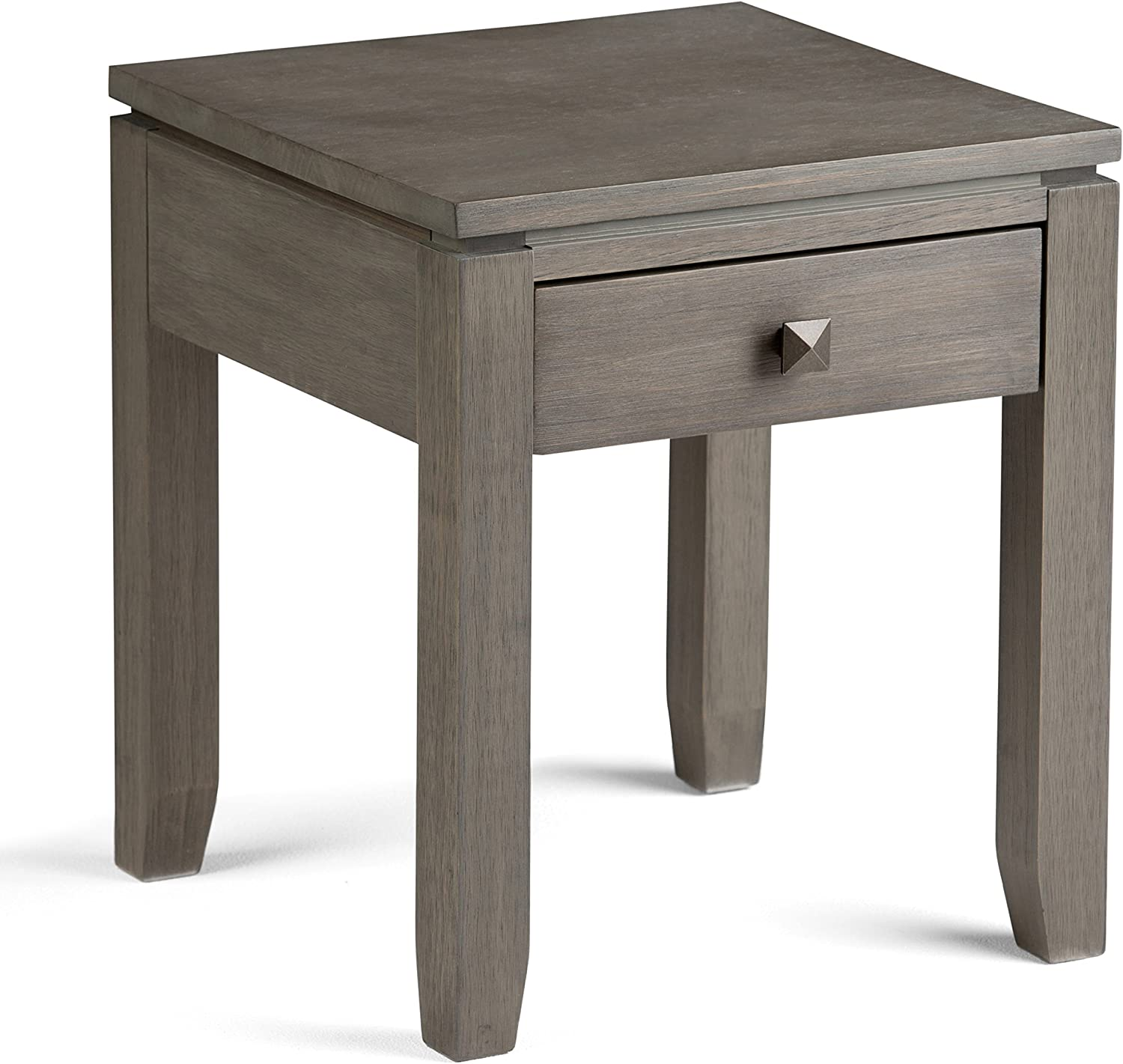 Simpli Home INT-AXCCOS-END-FG Cosmopolitan Solid Wood 18 inch wide Square Contemporary End Side Table in Farmhouse Grey