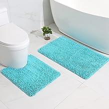 EFORPAD Bathroom Rugs Set,2 Pcs Chenille Bath Mat,Bath Rug + Toilet Mat,Soft Non Slip and Absorbent Carpet Mats for Tub Sh...