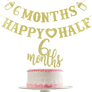 Gold Glittery 6 Months Happy Half Banner and Gold Glittery 6 Months Cake Topper(Double Sided Glitter)- Half Year Birthday ...
