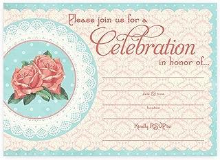 POP parties Vintage Chic Large Invitations - 10 Invitations 10 Envelopes