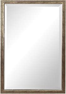 MY SWANKY HOME Classic Industrial Minimalist Distressed Silver Wall Mirror 38