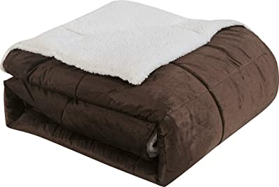 VCNY Micro Mink Sherpa 2-Piece Comforter Set, 63-Inch by 86-Inch