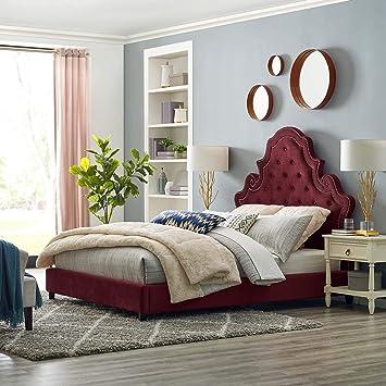 Amazon Com Modway Valentina Performance Velvet Tufted Queen Platform Bed In Maroon Furniture Decor