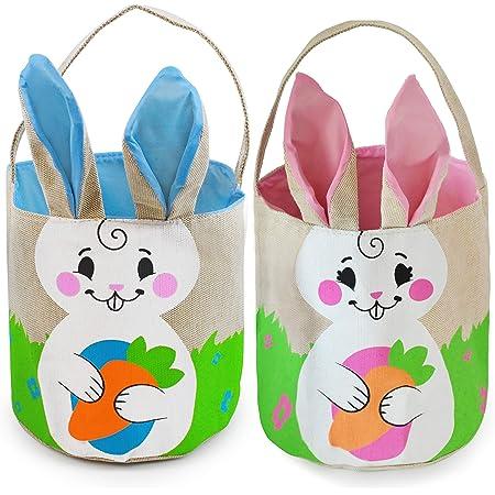 JOYIN 2 Pcs Easter Burlap Bags Easter Bunny Basket Set for Easter Eggs Hunt, Easter Burlap Tote Egg Bags Gift Baskets for Kids, Kids Easter Party Favor