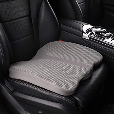LARROUS Car Memory Foam Heightening Seat Cushion,Tailbone (Coccyx) and Lower Back Pain Relief Cushion,for Office Chair,Wheelchair and More (Gray)