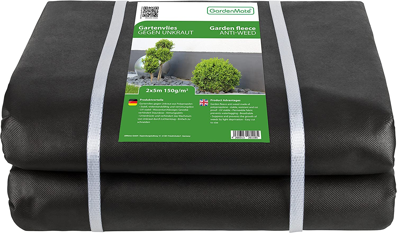 GardenMate Lámina/Lona de Malla geotextil prémium de 2 m x 5 m y 150 g/m² – Geotextil extrarresistente para Malas Hierbas – Alta estabilización contra UV – Permeable al Agua – 2 m x 5 m = 10 m²