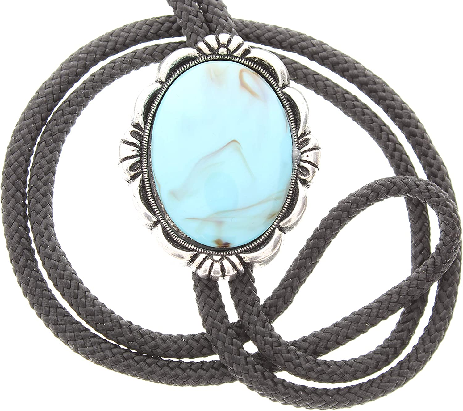 Turquoise Bolo (acrylic Stone) 40mm x 30mm Bolo Tie Necklace, sold by each