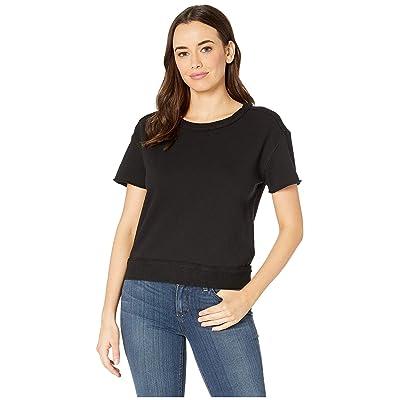 Three Dots 3 End Fleece Boxy Top (Black) Women