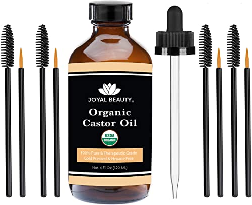 USDA Organic 100% Pure Castor Oil. Cold-Pressed Hexane-free Premium Quality Large Size for Hair Growth, Eyelashes, Ey...