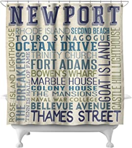 Lantern Press Newport, Rhode Island - Typography 53510 (74x74 Polyester Shower Curtain)