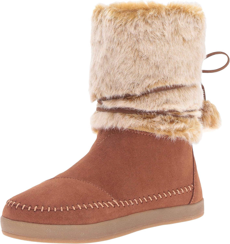 TOMS Women's Nepal Snow Boot, Dark Amber Suede Faux Hair, 5 Medium US