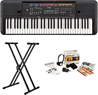 Yamaha PSRE263 61-Key Portable Keyboard with Knox Double X Stand and Survival kit (Includes Power Adapter and 2 Year Warranty)