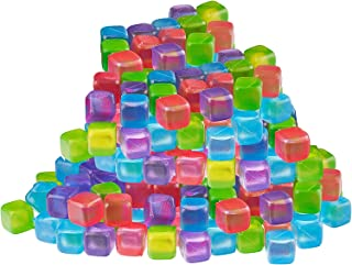 Reusable Ice Cubes - Quick Freeze Colorful Plastic Square Icecubes With Resealable Bag Assorted Colors Pack Of 56