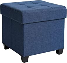 SONGMICS Storage Ottoman, Padded Folding Bench, Chest with Lid, Solid Wood Feet, Space-Saving, Holds up to 660lb, Navy Blu...