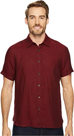 Perry Ellis Regular Fit Short Sleeve Solid Linen Shirt