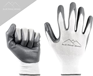 Blue Ridge Brand™ Work Gloves - Nitrile Gloves 12 Pairs - Rubber Grip Gloves - Men's Work Gloves Value 12 Pack - Safety Gloves