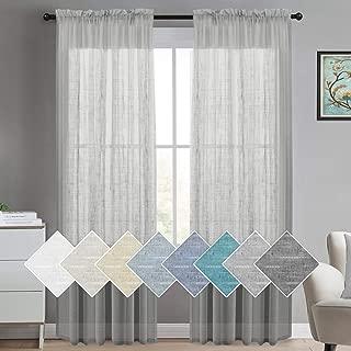 Turquoize Gray Linen Curtains Semi Sheer Curtains for Bedroom Elegant Linen Window Panels Rod Pocket Sheer Curtains for Living Room/Light Reducing Linen Sheer Curtains (Set of 2, Dove Gray)