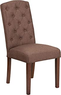 MFO Oxford Collection Brown Fabric Tufted Parsons Chair