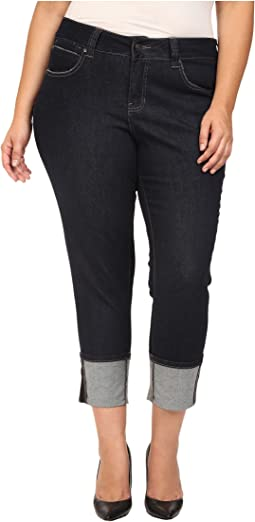 Plus Size Evan Long Cuff Slim Ankle in Rinse Capital Denim