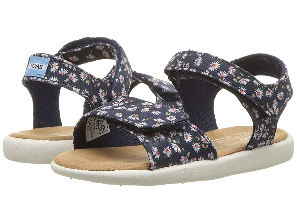 TOMS Kids Strappy (Infant/Toddler/Little Kid) (Navy Ditzy Daisy) Girl