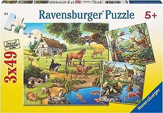 Ravensburger - 09265 - Puzzle Classique - Animaux Sauvages du Zoo / Domestiques - 3X49 Pièces