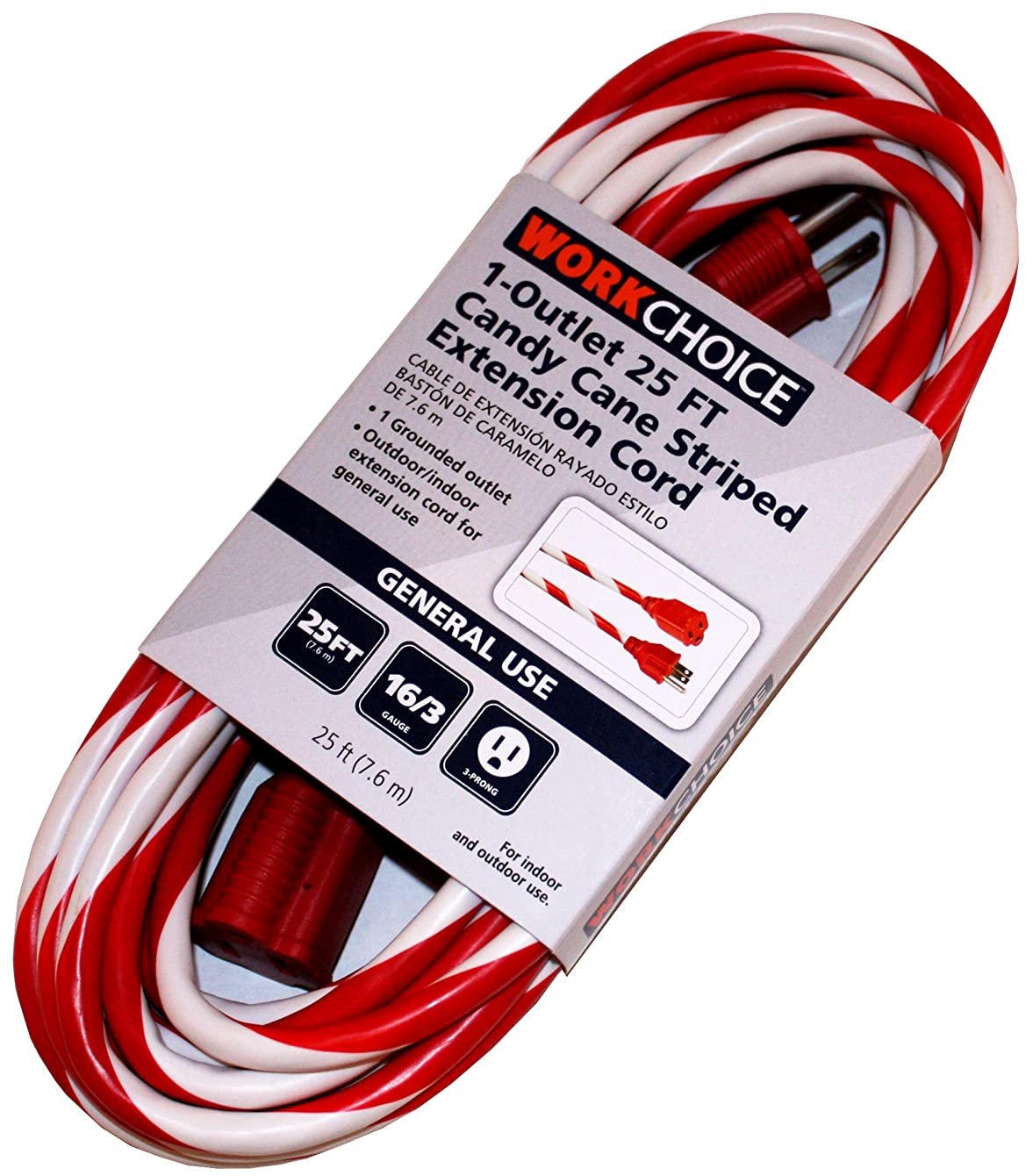 25 Ft Candy Cane Striped Extension Cord