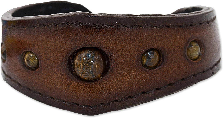 NOVICA Tiger's Eye Leather Cuff Bracelet, The Power'