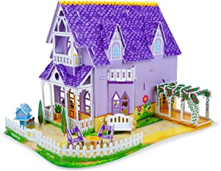 Melissa & Doug Pretty Purple Dollhouse 3-D Puzzle (16 x 10.75 x 10.75 inches, 100+ pcs)