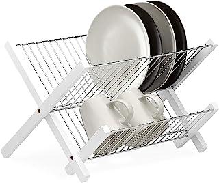 Relaxdays Escurreplatos de Cocina de 2 Niveles, Plegable, Acero Inoxidable y Bambú, 25,5 x 39 x 30 cm, Blanco