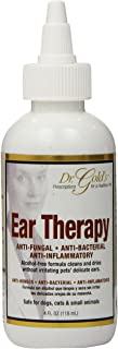 Dr. Gold's Ear Therapy – Medicated Formula Treats Bacterial, Fungal and Yeast Infections in Dogs and Cats – Gently Cleans, Disinfects and Deodorizes Ear Canal – Alcohol-Free (4 oz.)