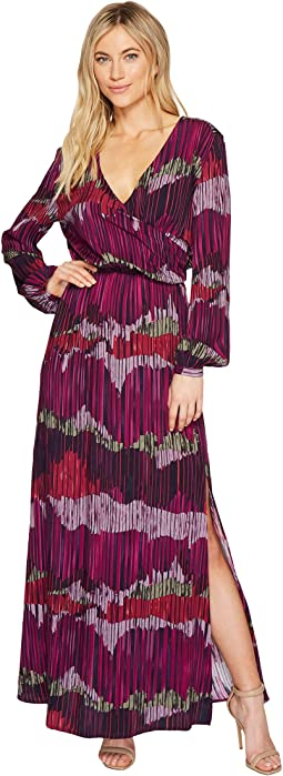 CATHERINE Catherine Malandrino - Long Sleeve V-Neck Peasant Maxi Dress