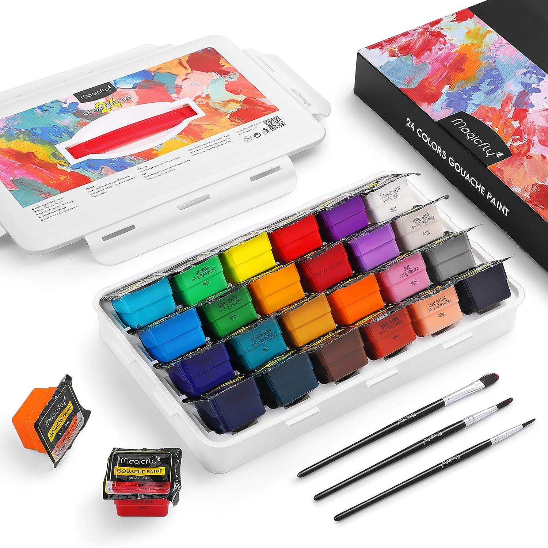 Magicfly Set de Pintura Gouache 24 Colores x 30 ml, Diseño de Jelly Gouache con 3 Pinceles y 1 Caja de Transporte, Pintura Gouache para Primarios, Niños, Artistas