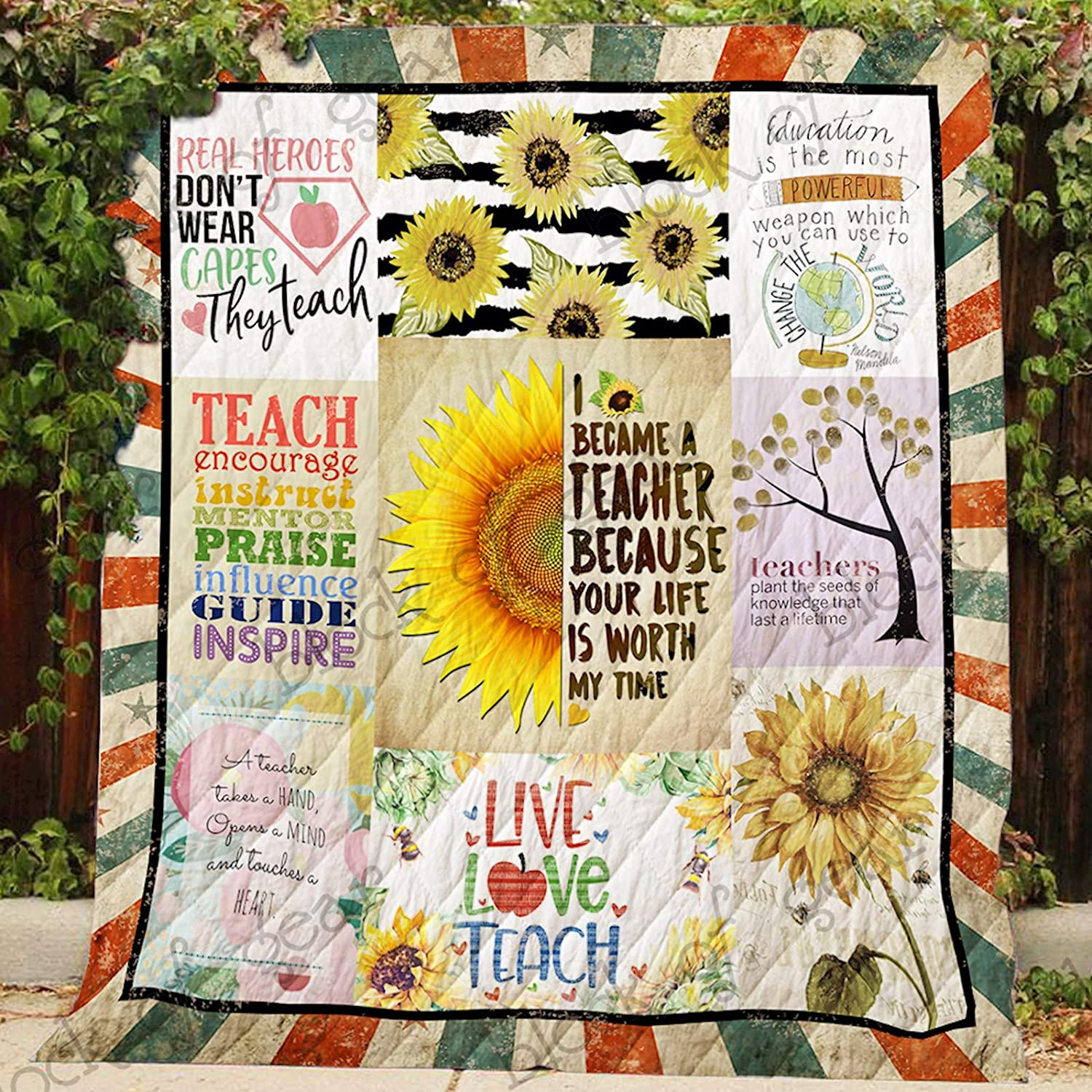 Your Life is Worth My Time Teacher Sofa Blanket P446, Queen All-Season Quilts Comforters with Reversible Cotton King Queen Twin Size - Best Decorative Quilts-Unique Quilted for Gifts