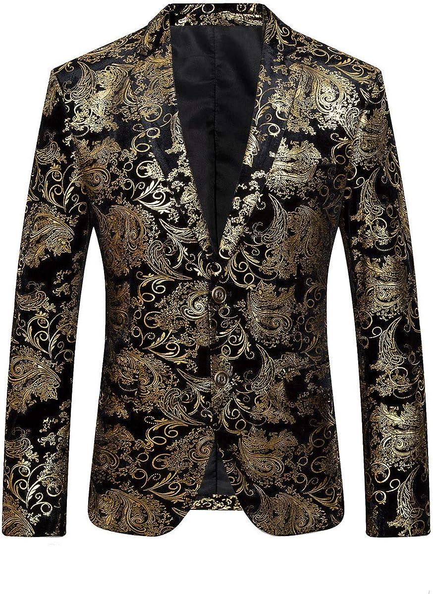 Men's Floral Suit Jacket for Dress Party Notched Lapel Slim Fit Two Button Stylish Blazer