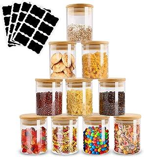 Infreecs Pot a Épices en Verre, Lot de 10 Bocaux en Verre et 32 Petit Etiquettes Pots à épices 200ml Hermétique Petit Boca...
