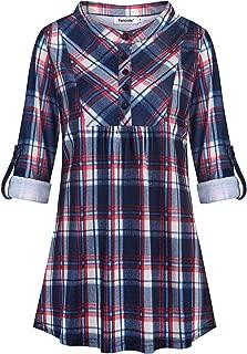 Womens Plaid Tunics Roll Sleeve Mandarin Collar Button Casual Office Top