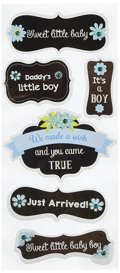 Multicraft Imports SS888H It's a Boy Craft Chalk Elements Stickers, Multicolor