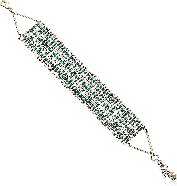 Lucky Brand Wide Woven Beaded Bracelet, Gold