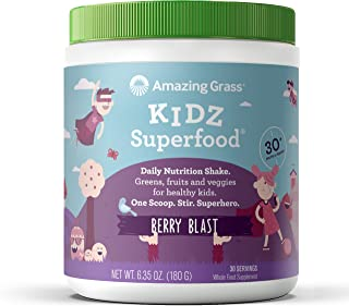Amazing Grass Kidz Superfood: Organic Greens, Fruits, Veggies & Probiotics for Healthy Kids, Berry Blast, 30 Servings
