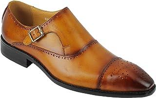 Xposed Cuir véritable pour Hommes Vintage Bruni Peint à la Main Monk Bracelet Intelligent Chaussures Marron Tenue de Ville...