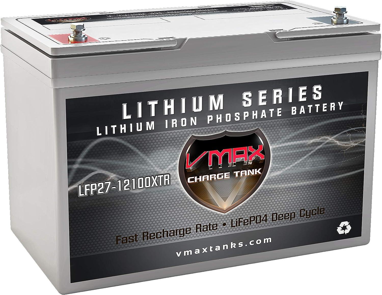 VMAX LFP27-12100XTR Lithium Iron LiFePO4 12V 100AH BCI Group27 Battery 1280Wh w/BMS Li-Iron Battery for UPS Uninterruptible Power Supply Backup Deep Cycle