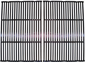 Music City Metals 61812 Gloss Cast Iron Cooking Grid Replacement for Select Gas Grill Models by Broil King, Broil-Mate and Others, Set of 2
