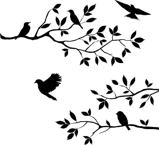 Decowall DW-1510BR Birds on Tree Branch with Bird Cages Kids Wall Stickers Wall Decals Peel and Stick Removable Wall Stickers for Kids Nursery Bedroom Living Room Brown