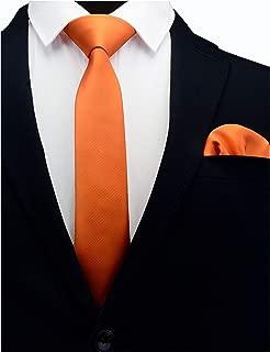 "GUSLESON 2.4"" Slim Necktie and Handkerchief Set For Men Solid Skinny Tie"
