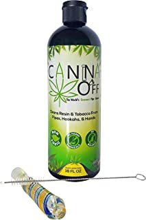 Canna Off Glass Pipe Cleaner Kit with Pipe Cleaner Brush - Natural Glass Pipe Cleaning Solution and Cannabis Pipe Cleaner - Weed Cleaning Accessories - Tobacco Pipe Cleaning Liquid,16 Fl Oz