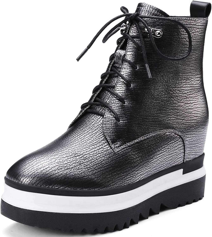 VIMISAOI Women's Casual Platform Sneakers Leather Lace Up Rivet Ankle Boots
